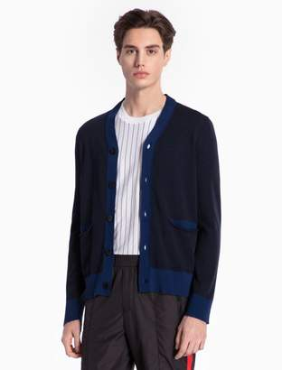 Calvin Klein colorblock cotton knit cardigan sweater