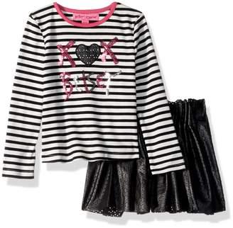 Betsey Johnson Little Girls' 2 Pc Laser Cut Pleather Skirt Set