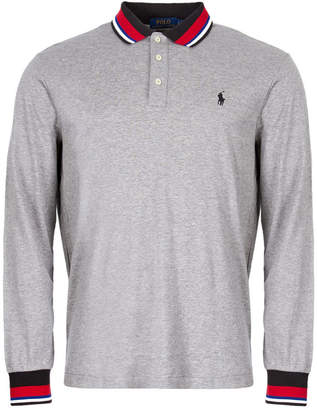 b02120d9 Ralph Lauren Custom Slim Fit Long Sleeve Polo - Grey