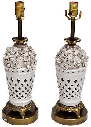 One Kings Lane Vintage Porcelain & Bronze Table Lamps - Set of 2 - Galleria d'Epoca