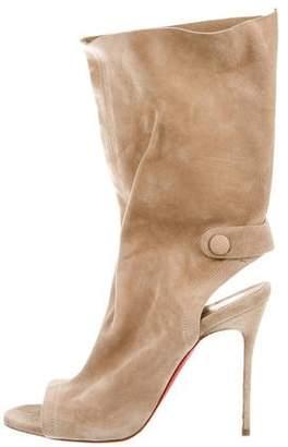 Christian Louboutin Suede Peep-Toe Boots