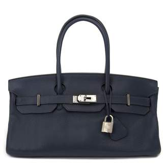 Hermes Birkin Shoulder Blue Leather Handbag