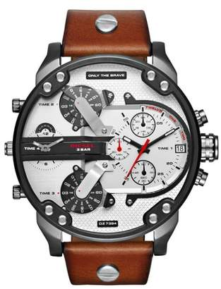 Diesel R) Mr. Daddy 2.0 Leather Strap Watch, 57mm