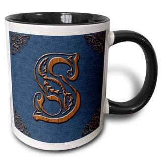 3dRose Monogram letter S in Victorian Western font that looks like carved oak wood on a denim background. - Two Tone Black Mug, 11-ounce