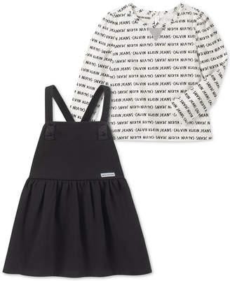 Calvin Klein Toddler Girls 2-Pc. Printed Top & Fleece Jumper Set