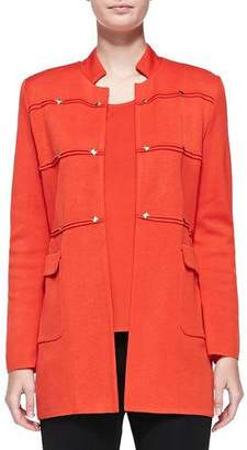 Misook Studded Long Jacket, Blood Orange, Plus Size