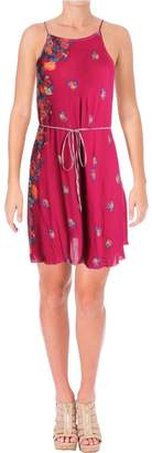Free People Intimately Intimately Womens It's A Cinch Floral Print Slip Dress Purple S