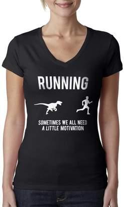 Crazy Dog T-shirts Crazy Dog Tshirts Womens Running We All Need A Little Motivation Raptor V Neck T Shirt -XL