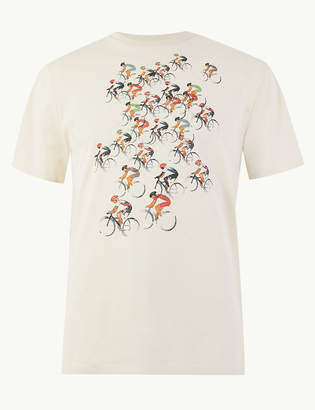 Marks and Spencer Pure Cotton Bike Print T-Shirt