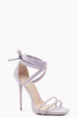 boohoo Clear Strap Wrap Detail Heels