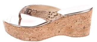 Jimmy Choo Snakeskin Thong Wedges