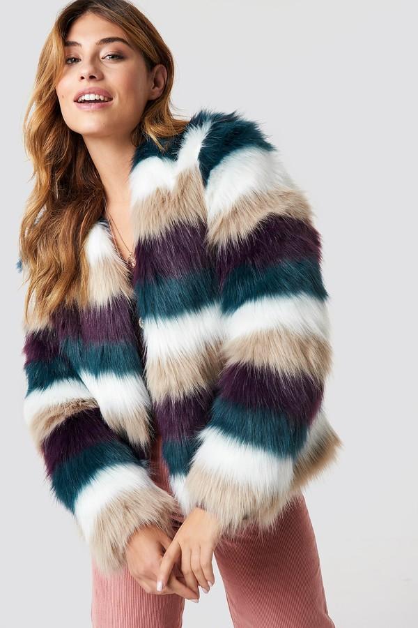 Linn Ahlborg X Striped Faux Fur Jacket Beige/White/Blue