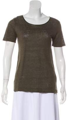 Vince Leather-Accented Short Sleeve T-Shirt