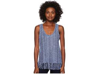 Three Dots Sleeveless Fringe Sweater Women's Sweater