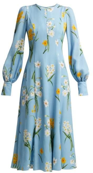 Narcissus Print Silk Crepe Midi Dress - Womens - Blue Print