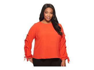 Vince Camuto Specialty Size Plus Size Long Sleeve Tiered Tie Cuff Textured Blouse Women's Blouse