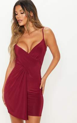 PrettyLittleThing Burgundy Slinky Wrap Over Bodycon Dress