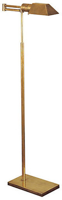 Visual Comfort & Co. Swing-Arm Floor Lamp - Antiqued Brass