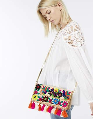 Monsoon Tyra Tassel Floral Cross Body Bag