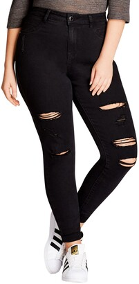 City Chic Rock 'n' Roll Destroyed Skinny Jeans