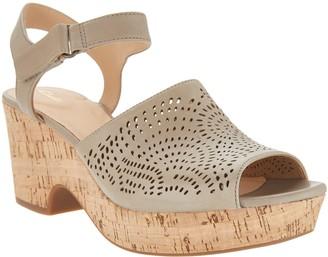 5c22ce940e6 ... QVC · Clarks Artisan Perforated Leather Wedge Sandals - Maritsa Nila
