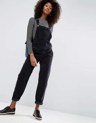 ASOS Cord Patch Pocket Overall in Washed Black $78 thestylecure.com