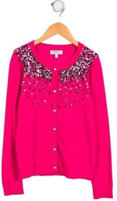 Milly Minis Girls' Embellished Scoop Neck Cardigan
