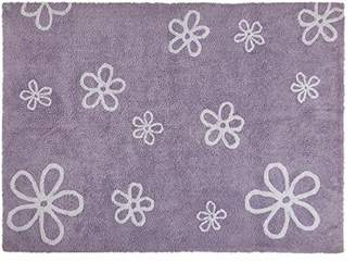 Camilla And Marc Happy Decor Kids Washable Rug (120 x 160 cm, Purple, Flowers)