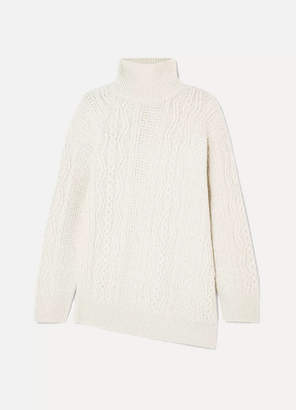Vince Asymmetric Cable-knit Wool-blend Turtleneck Sweater - Cream