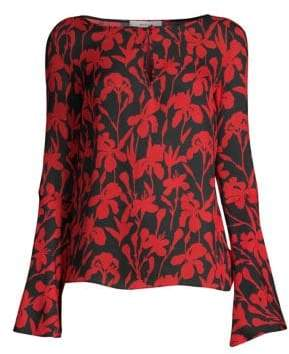Milly Iris Print Silk Georgette Top