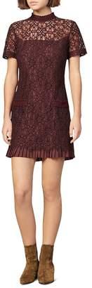 Sandro Bordaux Lace Mini Dress