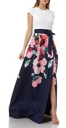 Carmen Marc Valvo Sequin & Floral Evening Dress