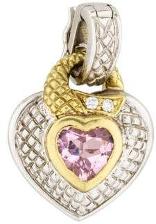 Judith ripka heart necklace shopstyle pre owned at therealreal judith ripka diamond pink crystal heart pendant aloadofball Images