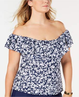 Flor Island Escape Plus Size Bliss Printed La Off-The-Shoulder Tankini Top, Women Swimsuit