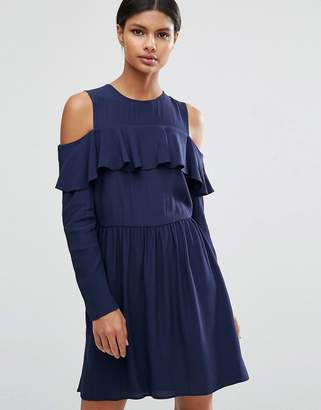 Asos DESIGN Mini Cold Shoulder Dress With Ruffle Detail