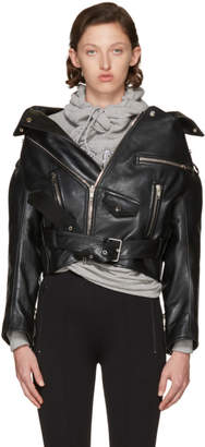 Balenciaga Black Leather Oversized Swing Biker Jacket