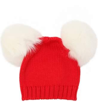 Wool Knit Beanie Hat W/ Fur Pompom