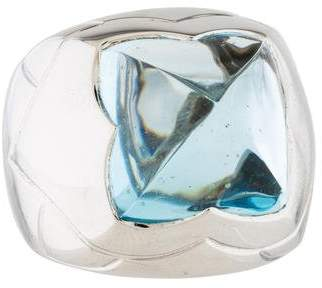 Bvlgari 18K Blue Topaz Pyramid ring