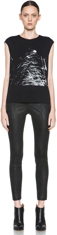 Helmut Lang Patina Stretch Leather Pant in Bismuth