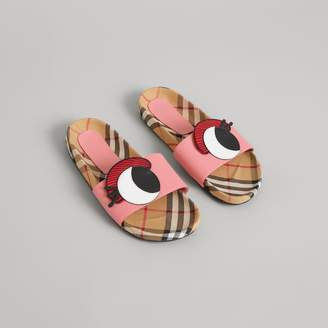 Burberry Eye Applique Vintage Check and Leather Slides , Size: 29