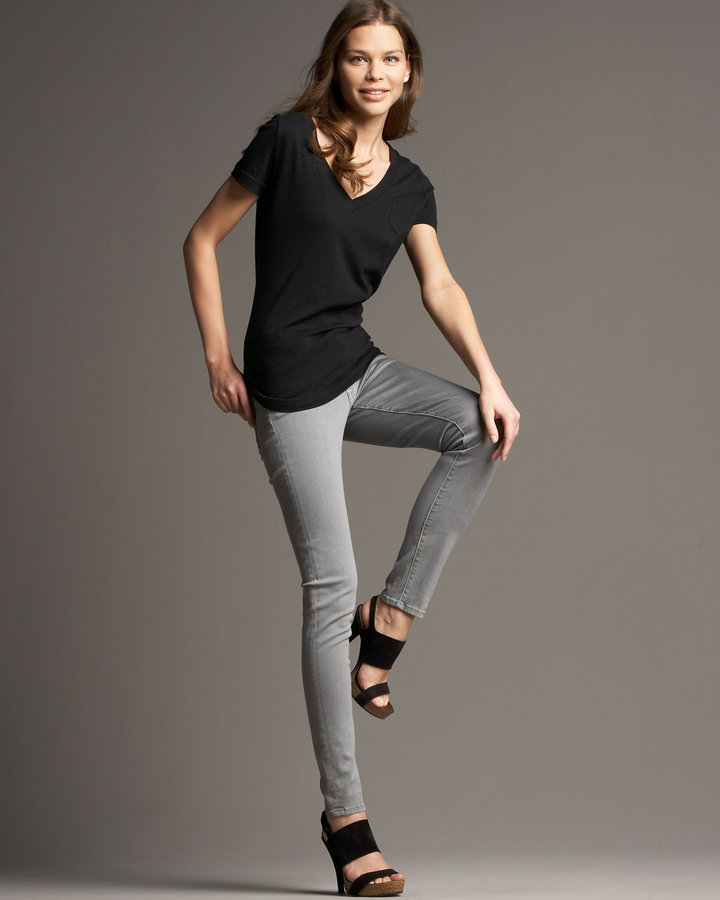 7 For All Mankind Skinny Jeans, Smoke Gray