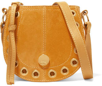 See by Chloe Kriss Mini Eyelet-embellished Textured-leather And Suede Shoulder Bag - Saffron