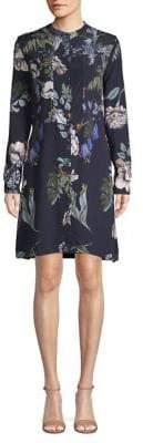 Markus Lupfer Floral Long-Sleeve Shirt Dress