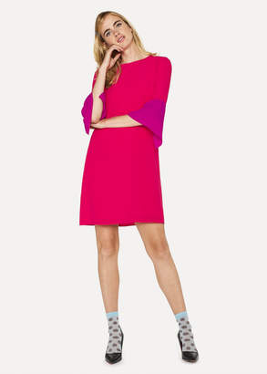 Paul Smith Women's Fuchsia Silk-Blend Shift Dress With Contrasting Cuffs