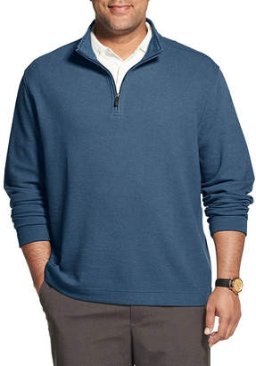 Van Heusen Never Tuck Mens Long Sleeve Quarter-Zip Pullover Big and Tall