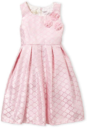 American Princess (Toddler Girls) Pleated Flower Fit & Flare Dress