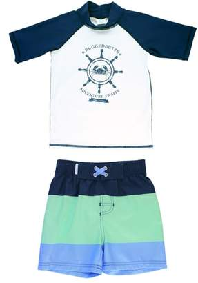 RuggedButts Nautical AdventureTwo-Piece Rashguard Swimsuit