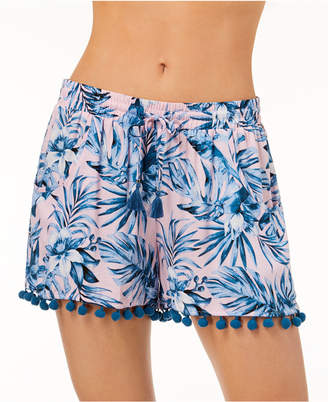 Bar III Tropic Garden Printed Cover-Up Shorts, Created for Macy's