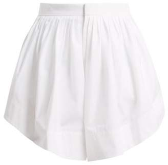 Chloé Pleated Cotton Shorts - Womens - White