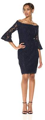 Adrianna Papell Women's Off The Shoulder Solid Lace Cocktail Dress with Bell Sleeve